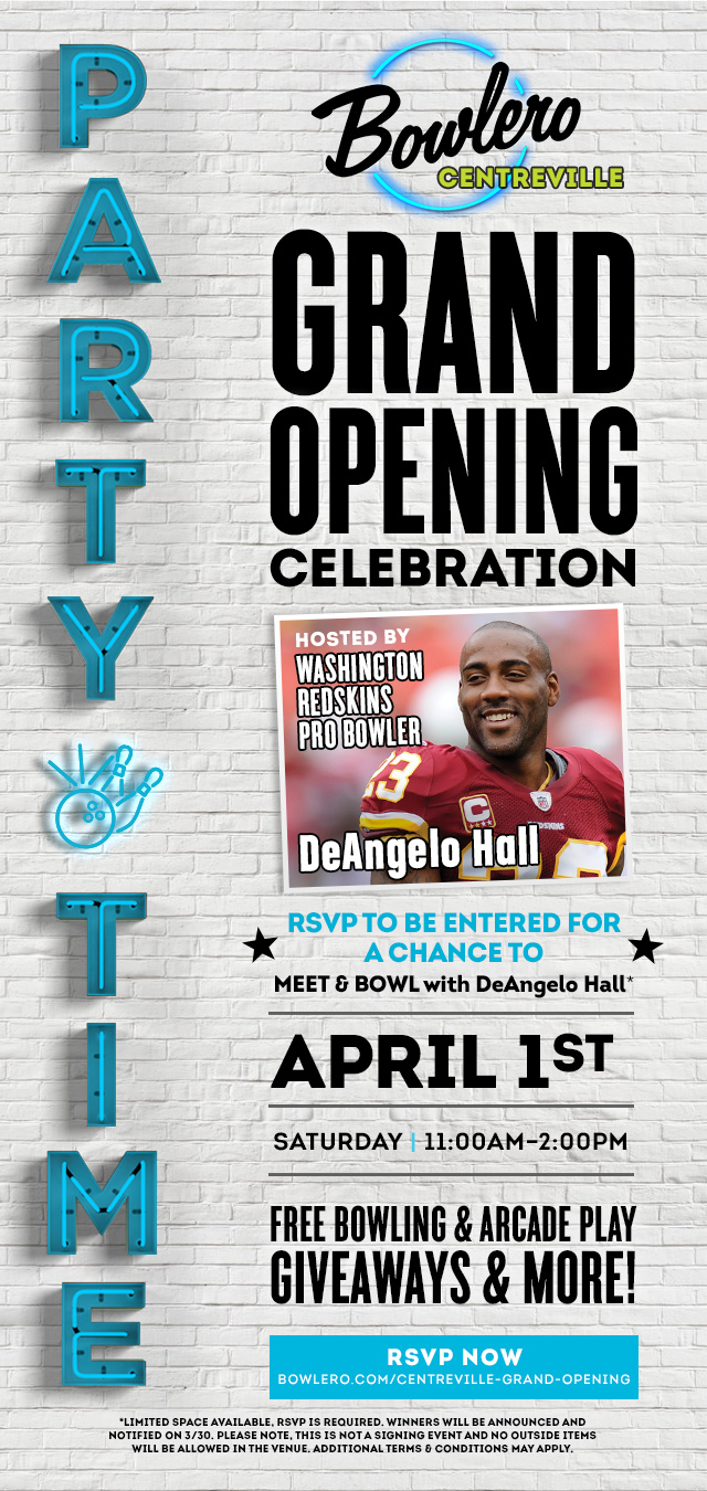 Grand Opening of Bowlero Centreville April 1st!