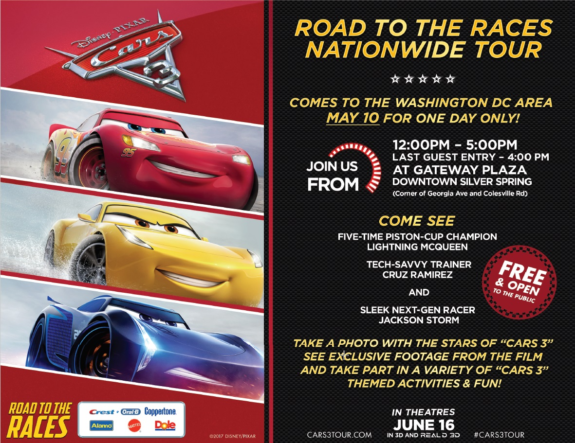 DISNEY·PIXAR'S CARS 3 Road to the Races Rolls Into DC!