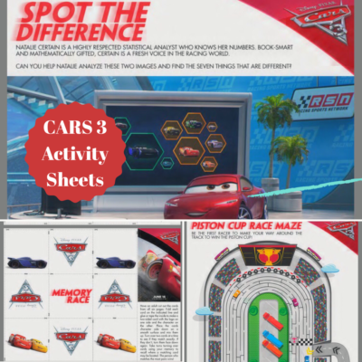 CARS 3 New Trailer & Activity Sheets!