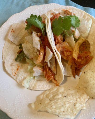 Spicy Fish Kimchi Tacos